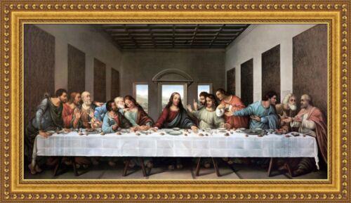 "V03-11 Leonardo da Vinci The Last Supper Framed Canvas Giclee Print 47/""x26.5/"""