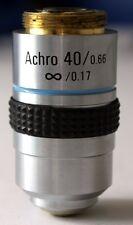 NEW, 40X MICROSCOPE OBJECTIVE, ACHROMATIC, INFINITY, NA 0.66, RMS THREAD (ID142)