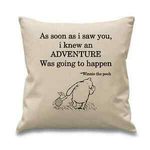 052baf66558f CLASSIC WINNIE THE POOH QUOTE CUSHION COVER PERECT GIFT BABY CHILD ...