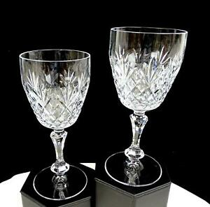 HOYA-JAPAN-CUT-CRYSTAL-70-E-FAN-amp-DIAMOND-BAND-2-PIECE-6-3-8-034-WINE-GLASSES