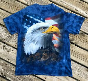 Bald-Eagle-T-shirt-American-Flag-Liquid-Blue-Tie-Dye-Bold-Print-USA-Large-Cool