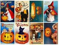 16 Vintage Halloween Scrapbook Postcard Stickers Peel & Stick (no Cutting)