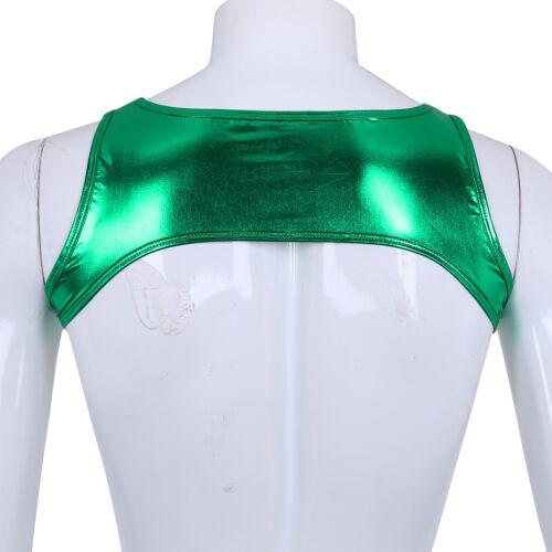 Men/'s Shiny Metallic Sleeveless Crop Top Wetlook Muscle Tank Vest Chest Harness
