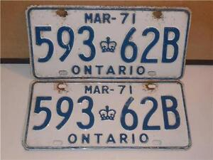 Vintage-Set-of-2-Ontario-Canada-Car-License-Plates-MAR-1971-Crown-593-62B-Pair