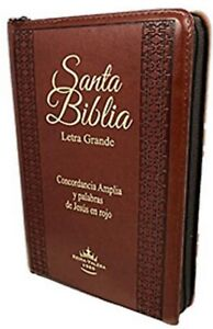 Biblia Letra Grande con Cierre Imitacion Piel Marron con Concordancia RVL 1960