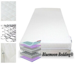 Superior Deluxe Bound Spring Cot Bed Sprung Mattress 140x70x cm Thick