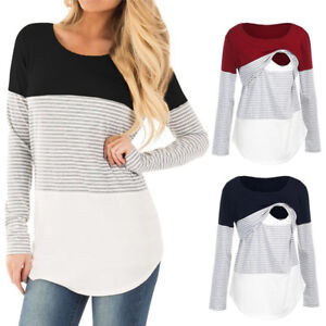 Women-Pregnancy-Long-Sleeve-Tee-Striped-Top-Nursing-Blouse-Breastfeeding-Clothes