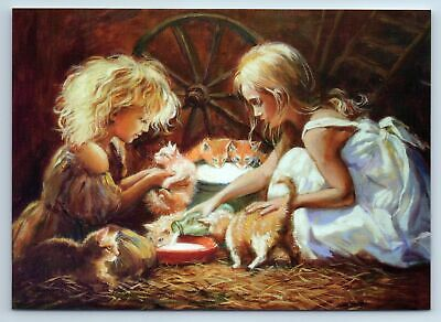 LITTLE GIRLS feeding the kittens CAT with milk New Unposted Postcard