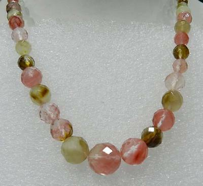 Fashion 6-14mm Faceted Watermelon Tourmaline Gemstones Round Beads Necklace 18""
