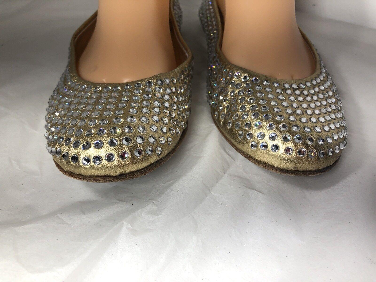 Giuseppe Zanotti Embellished Crystal Flats Studs Gold Ballet Shoes Flats Crystal SZ 37 93058a