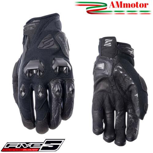 Guanti Da Moto Estivi Five Stunt Evo Black Cordura Pelle Con Protezioni Carbonio