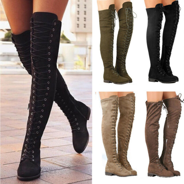 NEW WOMEN/'S LADIES OVER THE KNEE THIGH HIGH BLOCK HEEL SIDE LACE ZIP BOOTS SHOES