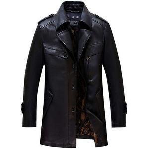 Winter New Men's Black Lapel Long Paragraph Faux Leather Trench ...