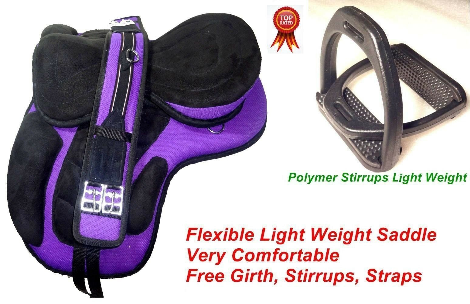 Synthetic Treeless Horse Saddle  Purple with  Girth and Stirrups  welcome to buy
