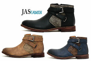 Mens-Biker-Smart-Ankle-Casual-Boots-Designer-Fashion-Smart-Shoes-with-Zip-Size