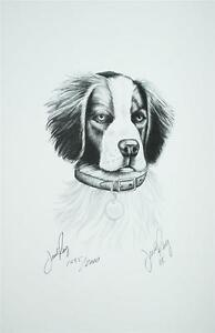 SIGNED LITHOGRAPH JESSE RAY BRITTANY SPANIEL HEAD PENCIL SKETCH 2003 SS2 | EBay