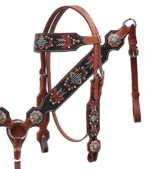 Showman Cuero Brida & pecho collar conjunto con diseño bordado Navajo nuevo Tachuela