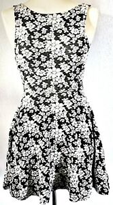 H-amp-M-Women-039-s-Dress-Black-White-Size-10-Cotton-Mix-Floral-Skater-VGC