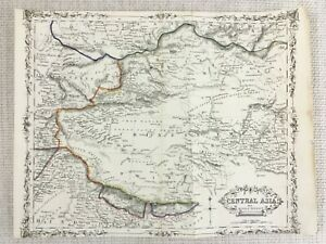 1848-Antik-Map-Of-China-Tibet-Central-Asien-19th-C-Hand-Farbig-Gravur