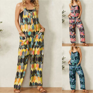 Womens Geometric Jumpsuit Wide Leg Casual Summer Loose Romper Overalls Playsuit
