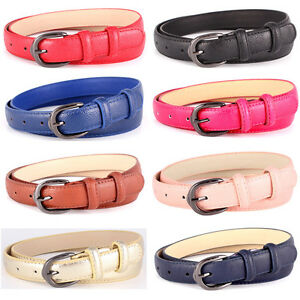 Women Black Alloy Pin Buckle Thin Leather Belts Lady Casual Skinny ... da93d754e3