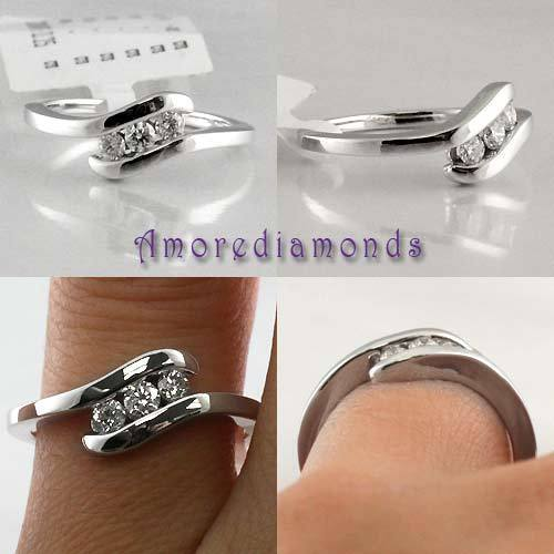0.27 ct F VS2 natural round diamond fashion pinkie ring solid 14k white gold