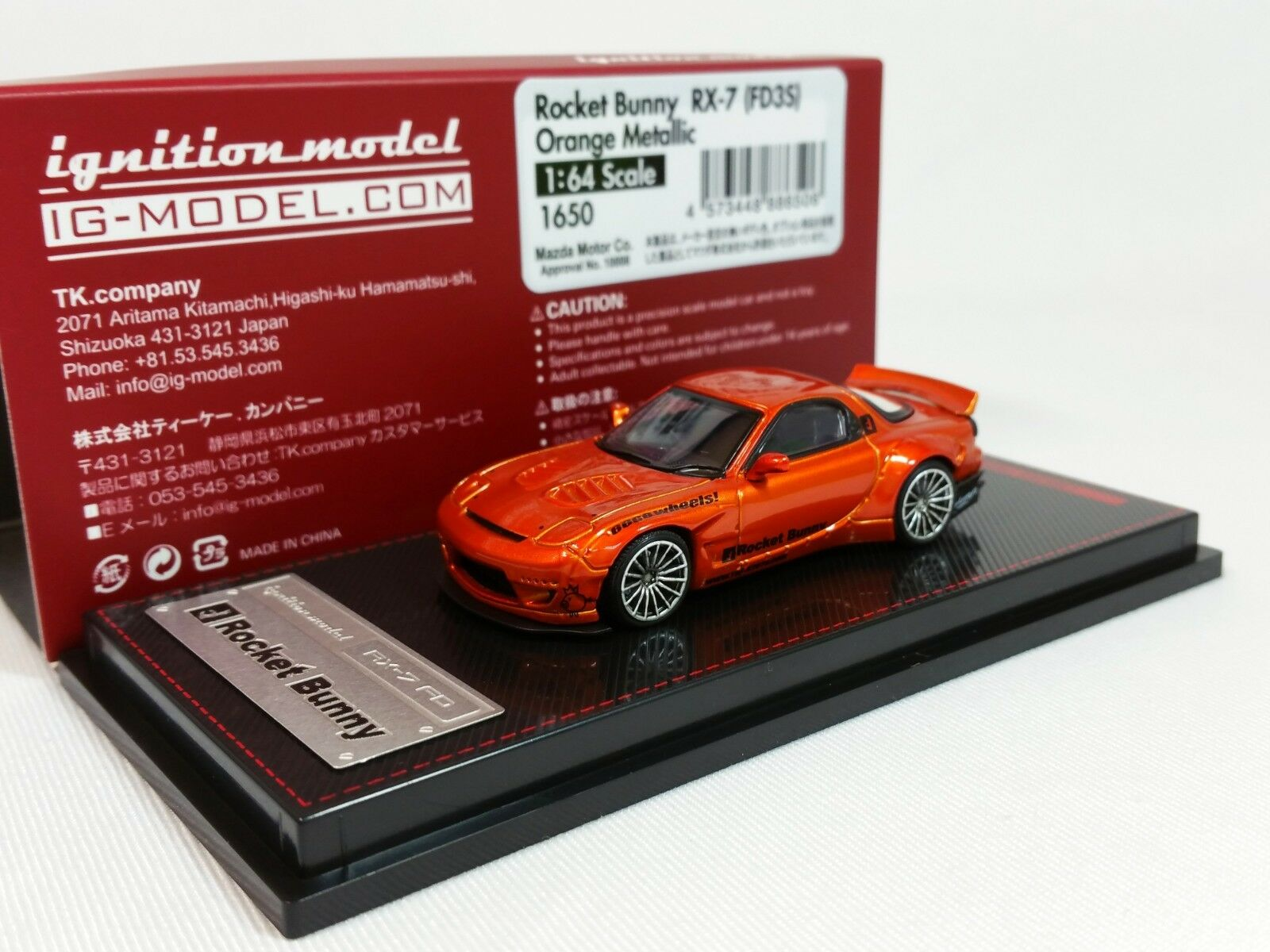 autentico en linea 1 64 Mazda RX-7 FD3S Rocket Conejito De Encendido Encendido Encendido Naranja Metálico Edición Limitada de IG1650.  mejor vendido