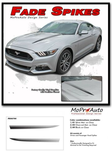 FADE SPIKE Fading Hood Spears Stripe Vinyl Graphic Decal Ford Mustang 2015-2017