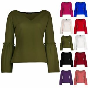 Women-039-s-Ladies-V-Neck-Casual-Crepe-Long-Flared-Bell-Sleeve-V-Neck-Tee-shirt-Top