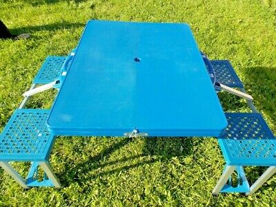 Picnic Table And Chairs Vintage Fold Up Made For Overwaitea Blue Plastic Metal Ebay