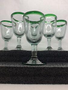 Set-Of-6-Short-Stem-Mexican-Hand-Blown-Emerald-Green-Rim-Glasses-Wine-Goblets
