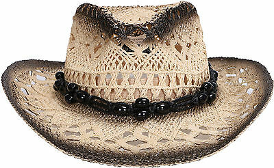 Western Rodeo Cowgirl Cowboy Kids Hollow Out Straw Hat Black Stone Band