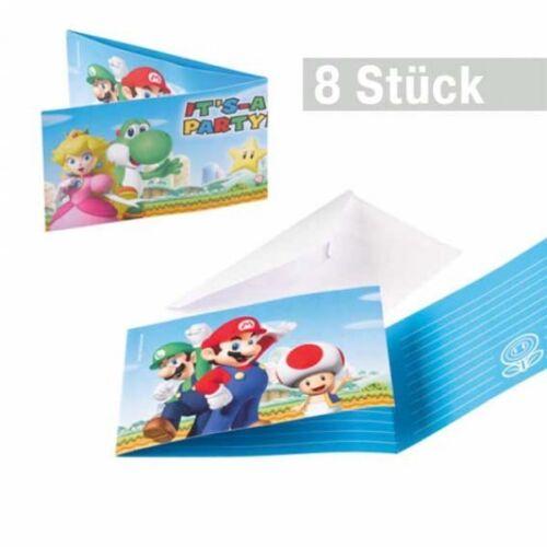 Super Mario, Kindergeburtstag Einladungskarten, 8 Einladungen mit Umschlag