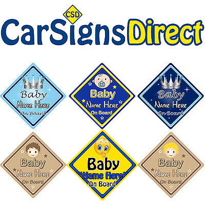 Choice of designs! Prince on Board Personalised Boy Baby//Child Car Sign
