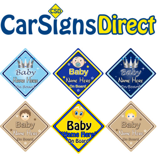 Personalised Baby On Board Car Sign - Boy - Baby/Child Safety -Choice Of Designs