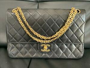 bf73be7eb004 Image is loading CHANEL-VINTAGE-BLACK-CLASSIC-LAMBSKIN-DOUBLE-FLAP-COCO-