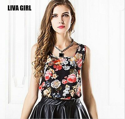 Summer Womens Ladies Chiffon Sleeveless Tank Crop Vest T Shirt Blouse Tops