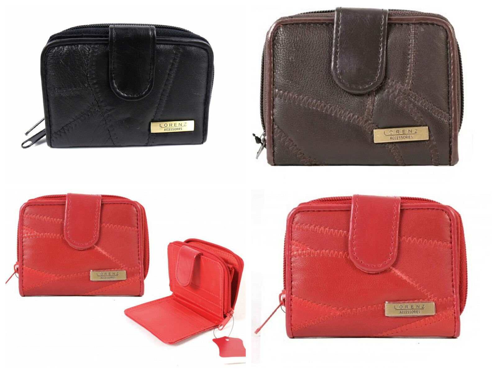 Lorenz Quality Ladies Small Soft Leather Patchwork Purse Wallet Black Brown Red