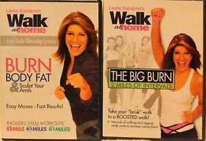 2-Leslie-Sansone-039-s-Walk-At-Home-DVD-lot-Burn-Body-Fat-The-Big-Burn-walking