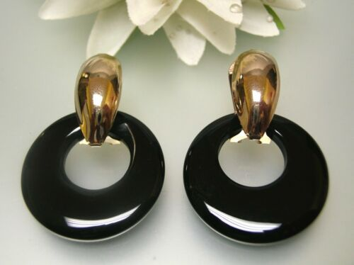Vintage 14k gold plated oval french clip w/ natural black agate charm drop ER
