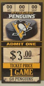PITTSBURGH-PENGUINS-GAME-TICKET-ADMIT-ONE-GO-PENGUINS-WOOD-SIGN-6-034-X12-039-039-WINCRAFT