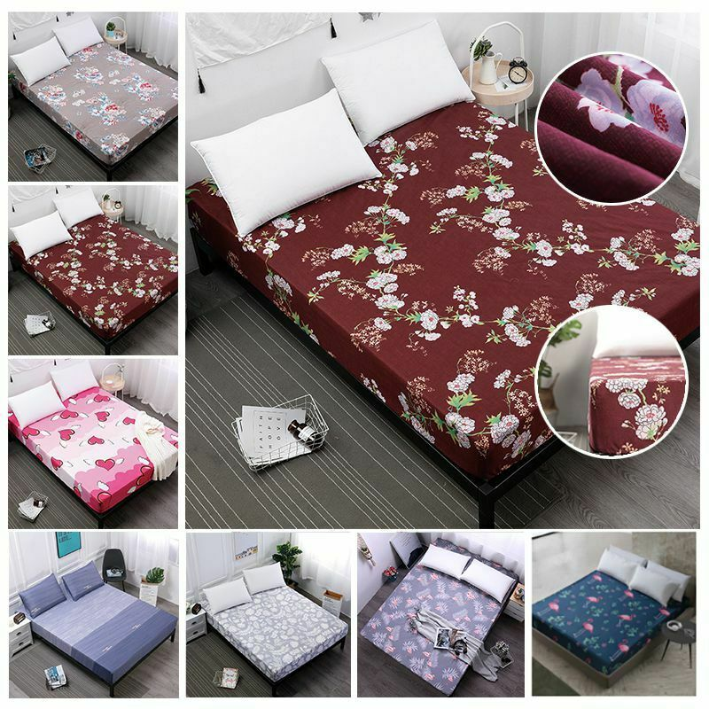 Floral Printed Fitted Sheet Twin Full Queen King Cotton Bed Sheet Cover 5 Size