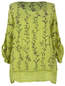 Womens-Italian-Lagenlook-Sequin-Crochet-Trim-Hem-Floral-Linen-Turn-Up-Sleeve-Top