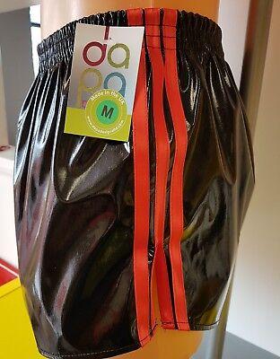 Noir /& Orange Rétro nylon satin Football Shorts S 4XL