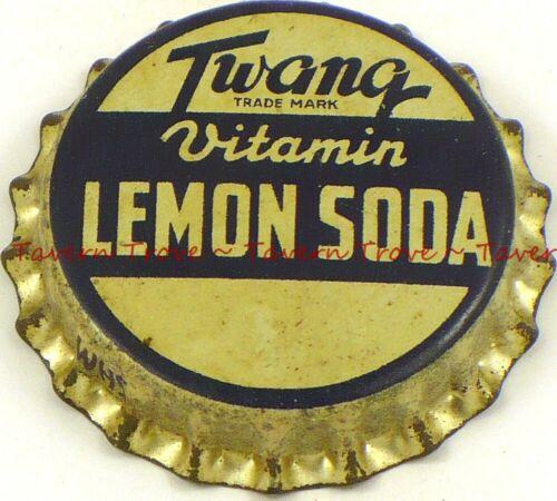 1950s no bottler TWANG LEMON SODA Cork Crown Tavern Trove