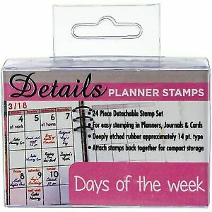 Ken Oliver Contact Crafts Planner Stamps 24 Per Package Days Of The Week