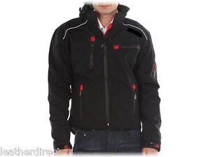 Moto-Vent-Impermeable-Noir-Molletonne-Textile-a-Capuche-Veste