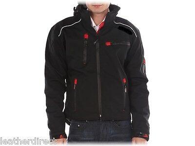 Motorbike Motorcycle Wind Waterproof Black Soft Shell Textile Hooded Jackets