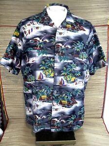 ISLANDER-VTG-Men-Hawaiian-ALOHA-shirt-pit-to-pit-25-L-polyester-1990s-luau