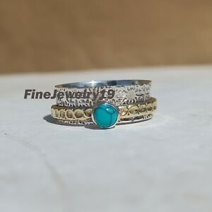 Turquoise-Ring-925-Sterling-Silver-Spinner-Ring-Meditation-Statement-Jewelry-C48